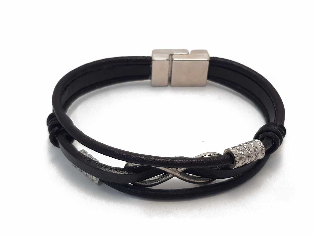 Снимка на Dark Brown Leather Bracelet with infinity symbol and magnetic clip in  Boho style Handmade