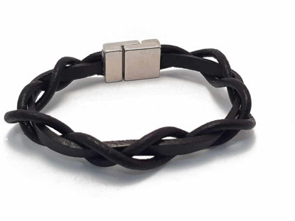 Picture of Dark brown Leather Bracelet with  magnetic clip in  Boho style Handmade