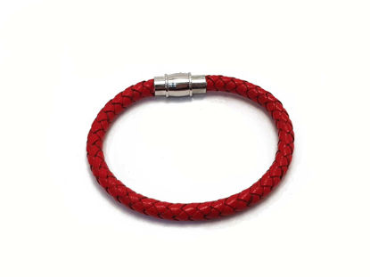 Picture of Red Leather Bracelet with  magnetic clip  Handmade
