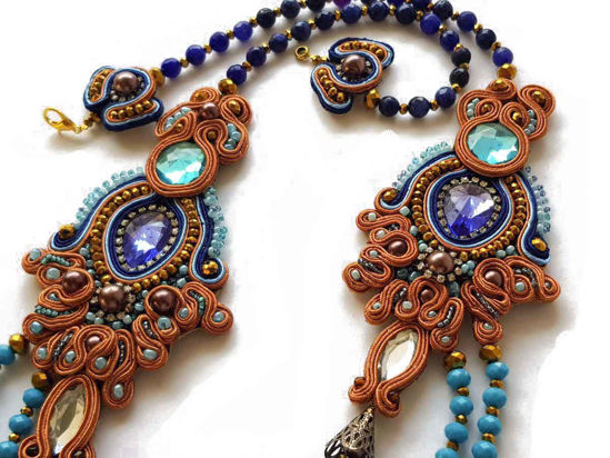Picture of Big Soutache Necklace with various size crystal beads. Handmade